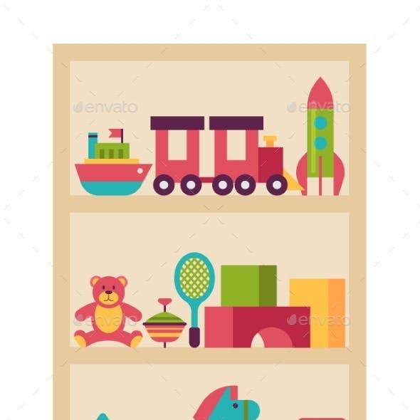 Wardrobe Children Toy, Plaything Shelf Isolated on