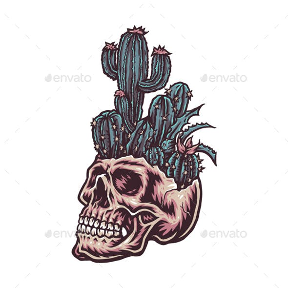 Skull with Cactus