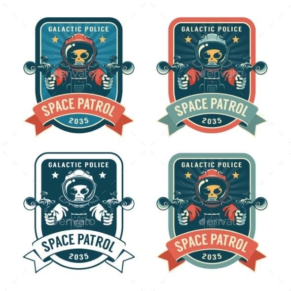 Alien with Blaster - Space Retro Badge