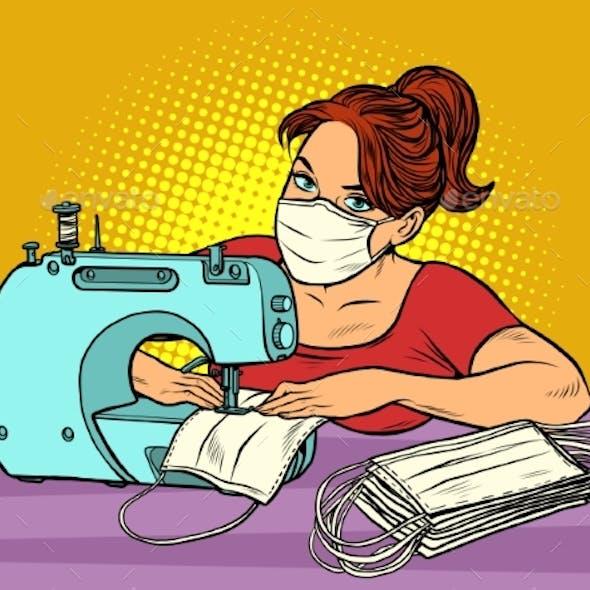Woman Sews Medical Masks. Clothing Manufacture