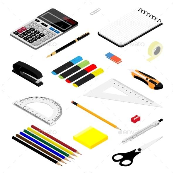 Isometric Office Stationery Set