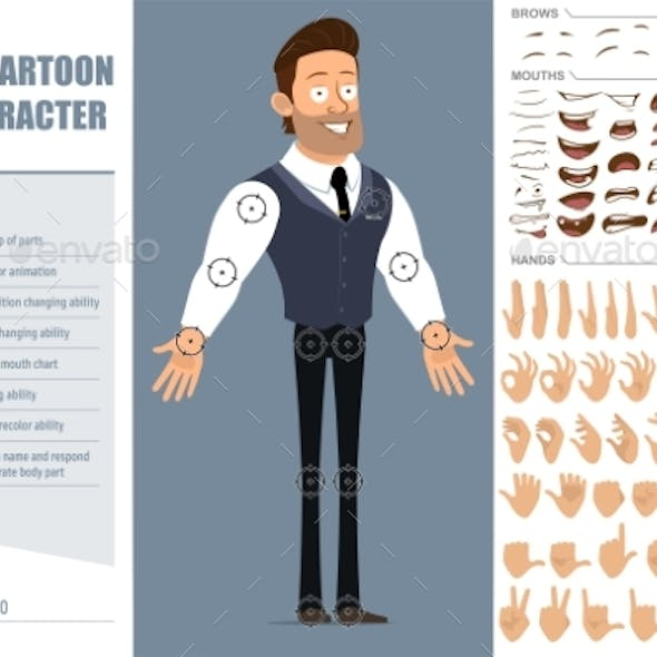 Cartoon Strong Muscular Boy Character Vector Set