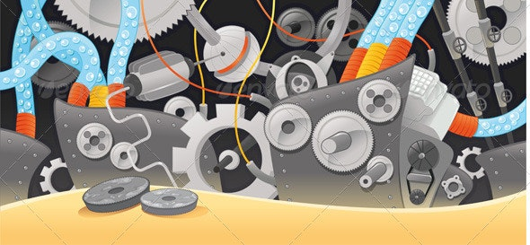 Various types of mechanisms. - Technology Conceptual