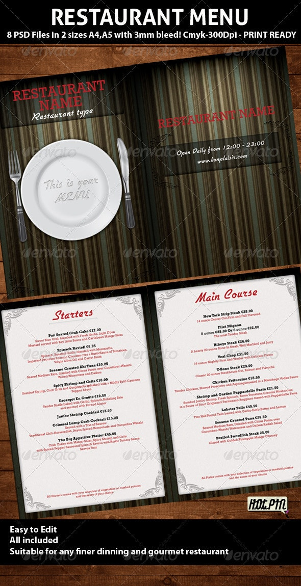 Elegant Restaurant Menu PSD Template