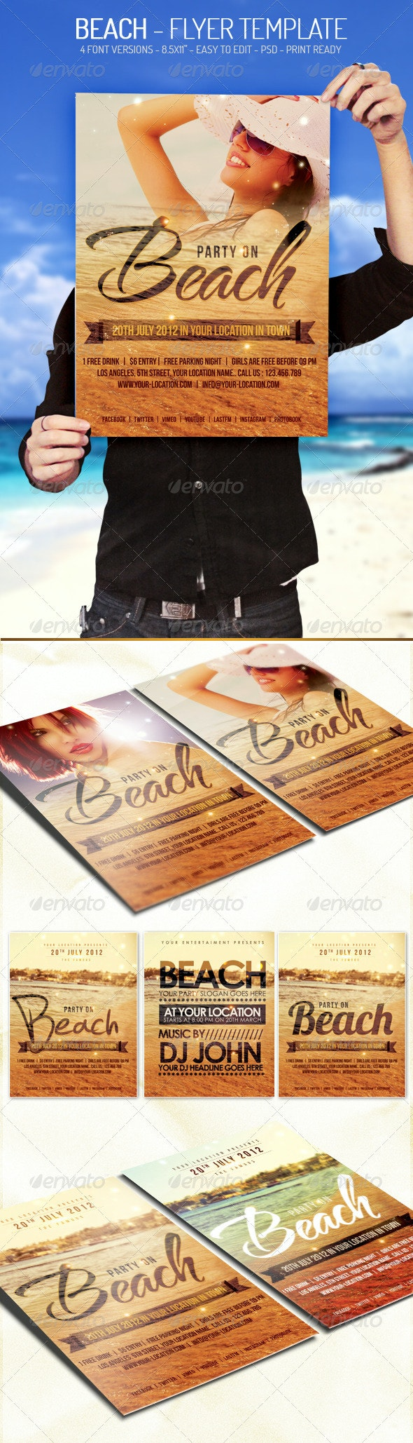 Beach - Flyer Template - Clubs & Parties Events