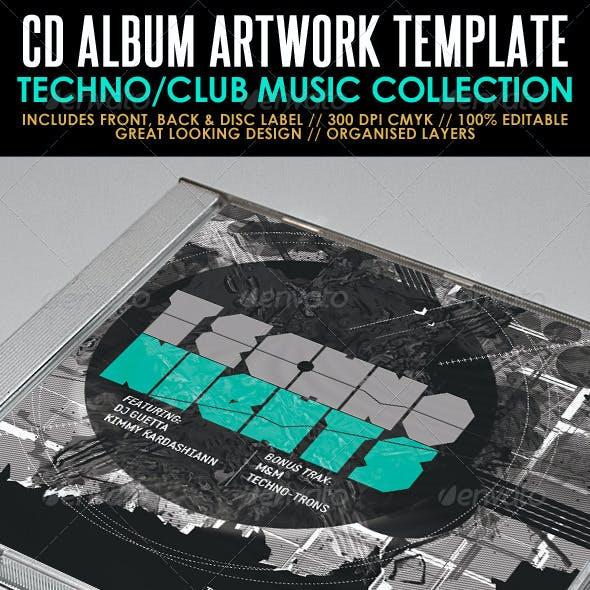 Techno Nights Mixtape CD Artwork PSD Template