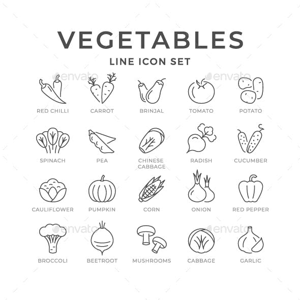 Set Line Icons of Vegetables