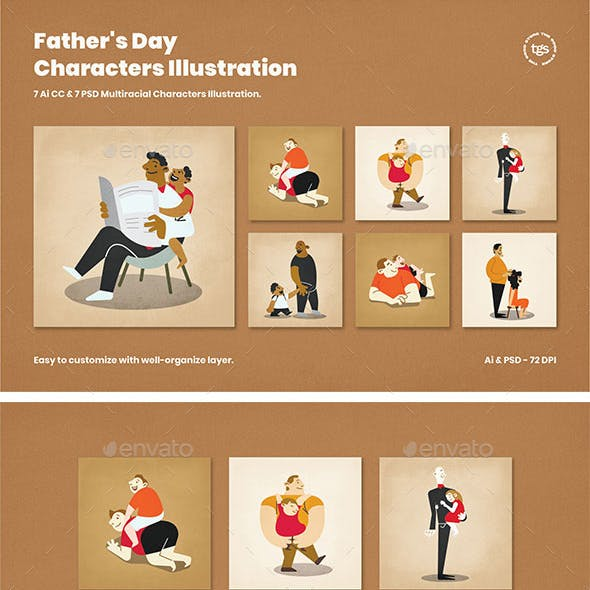 Father's Day Characters Illustration