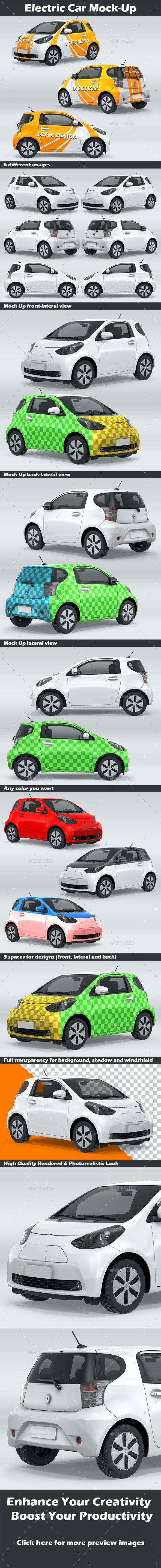 Electric Car Mock-Up - Product Mock-Ups Graphics