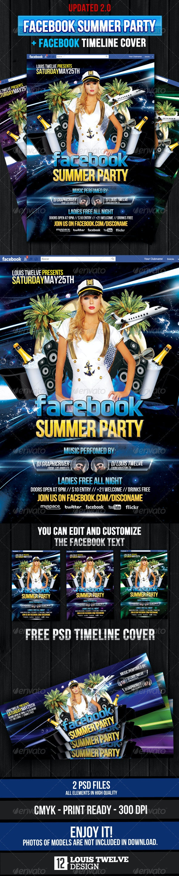 Facebook Summer Party - Flyer + Fb Timeline - Clubs & Parties Events