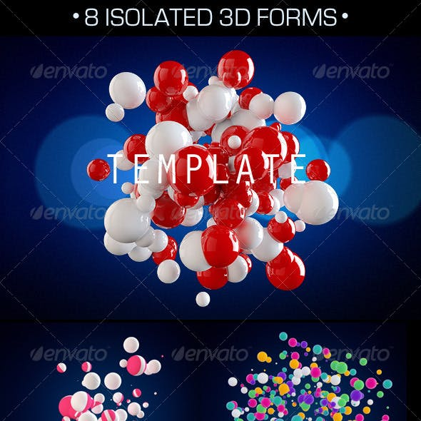 8 Isolated 3D Forms