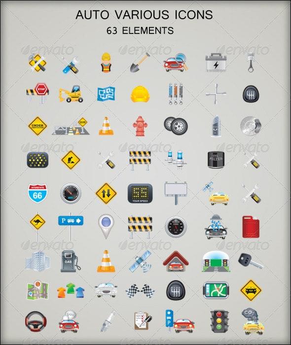 Auto Various Icons - Travel Conceptual