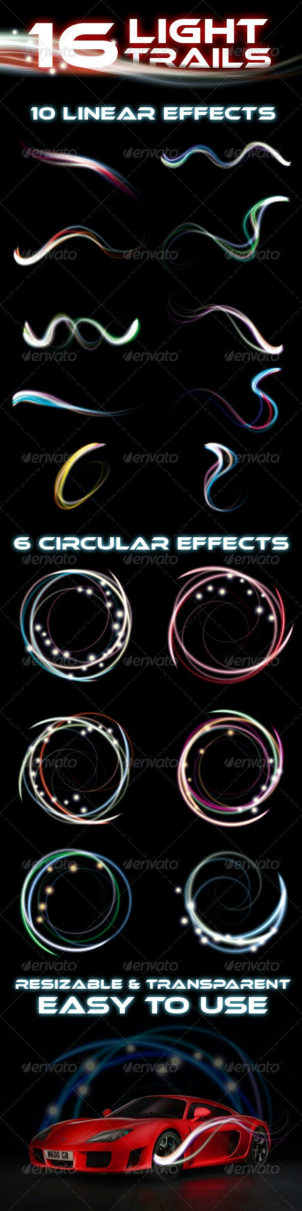 16 Premium Light Trail Effects - Decorative Graphics