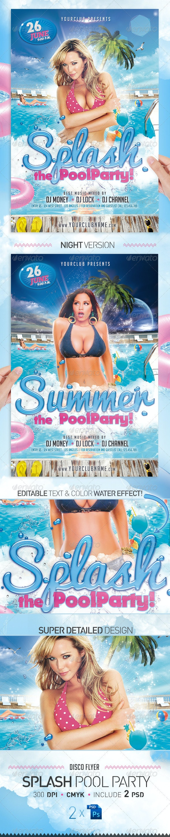 Splash Pool Party Flyer Template - Clubs & Parties Events