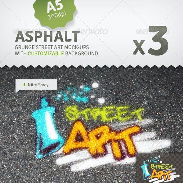Asphalt - 3 Graffiti Street Art Mockups