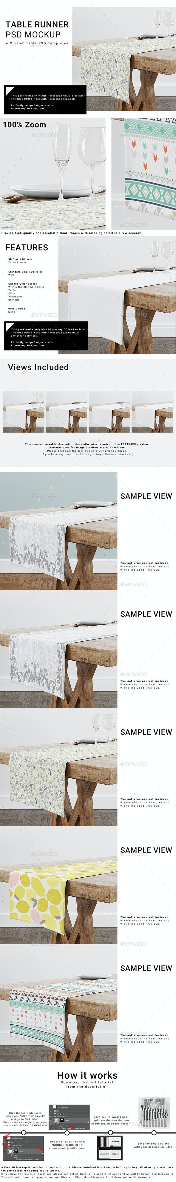 Table Runner Mockup Set - Print Product Mock-Ups