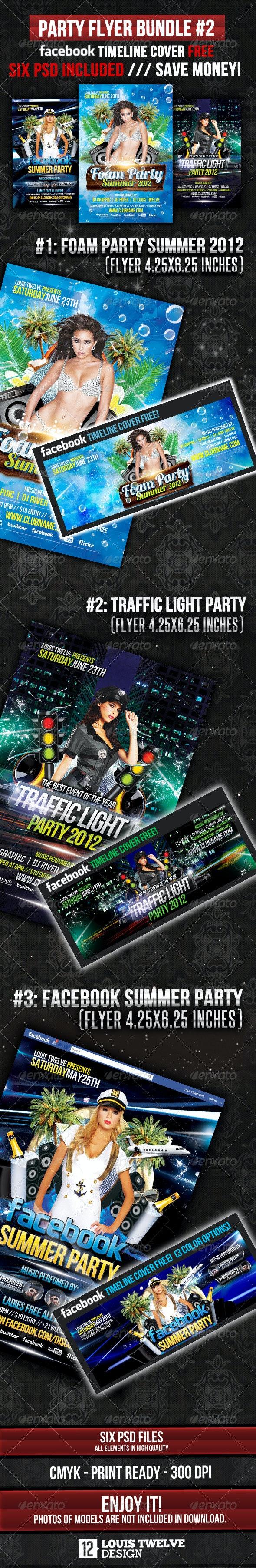 Party Flyer Bundle 02 + Facebook Timeline - Clubs & Parties Events