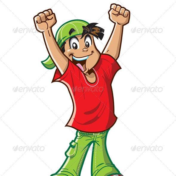 Happy Cheering Boy