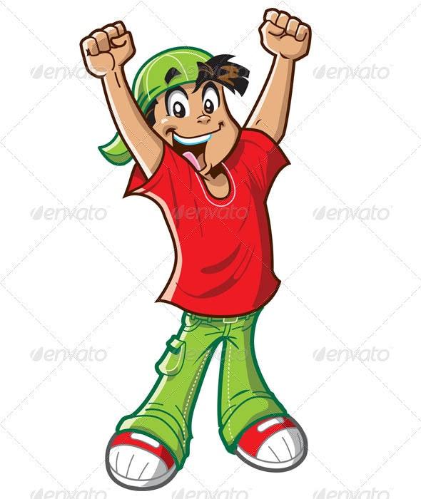 Happy Cheering Boy - Characters Vectors