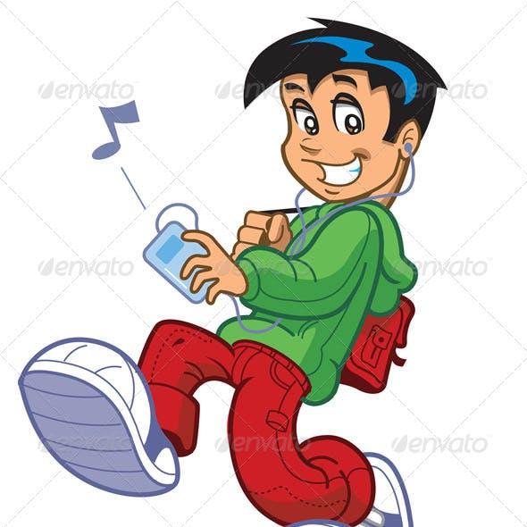 Boy Listening To Music