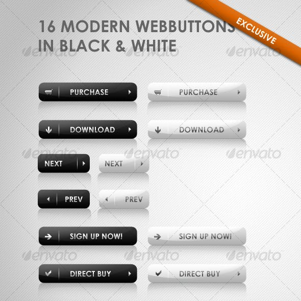 16 modern webbuttons  in black & white