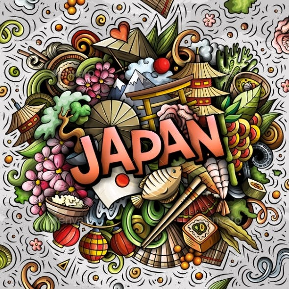 Japan Hand Drawn Cartoon Doodles Illustration.