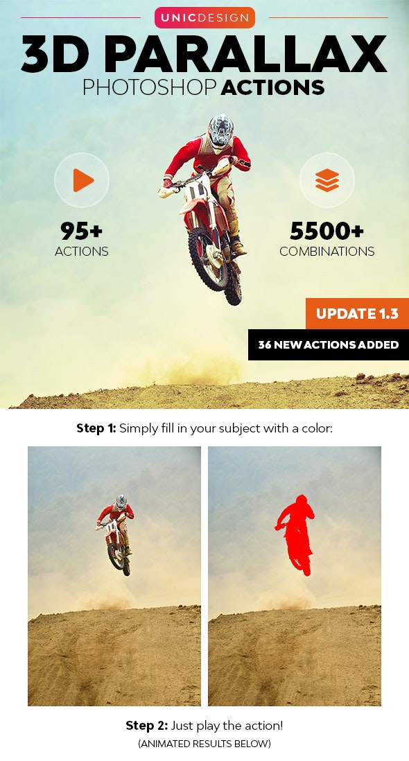 3D Parallax Animated Photoshop Actions - Photo Effects Actions