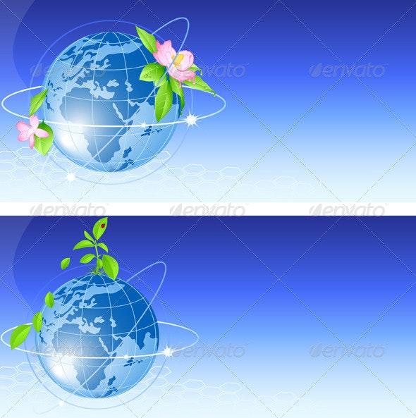 Background with Blue Globe - Backgrounds Decorative