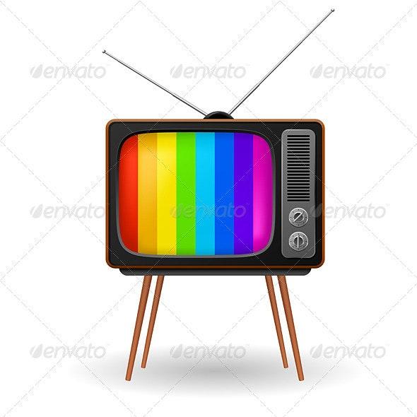 Retro TV with color frame - Retro Technology