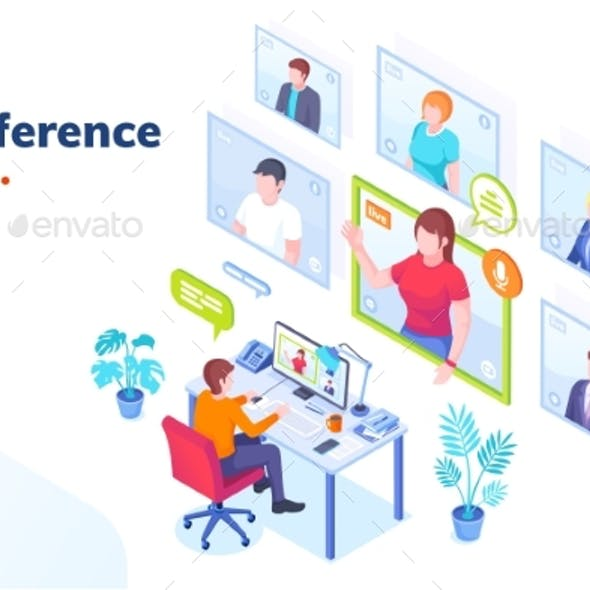 Video Conference Internet Video Call, Isometric