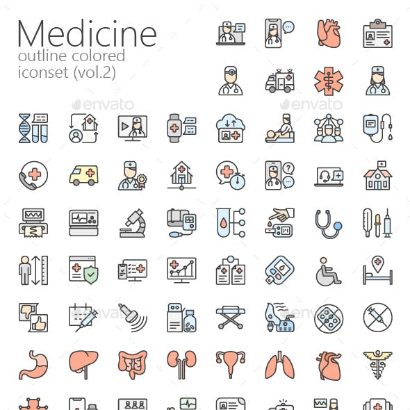 Medicine colored outline iconset (vol.2)