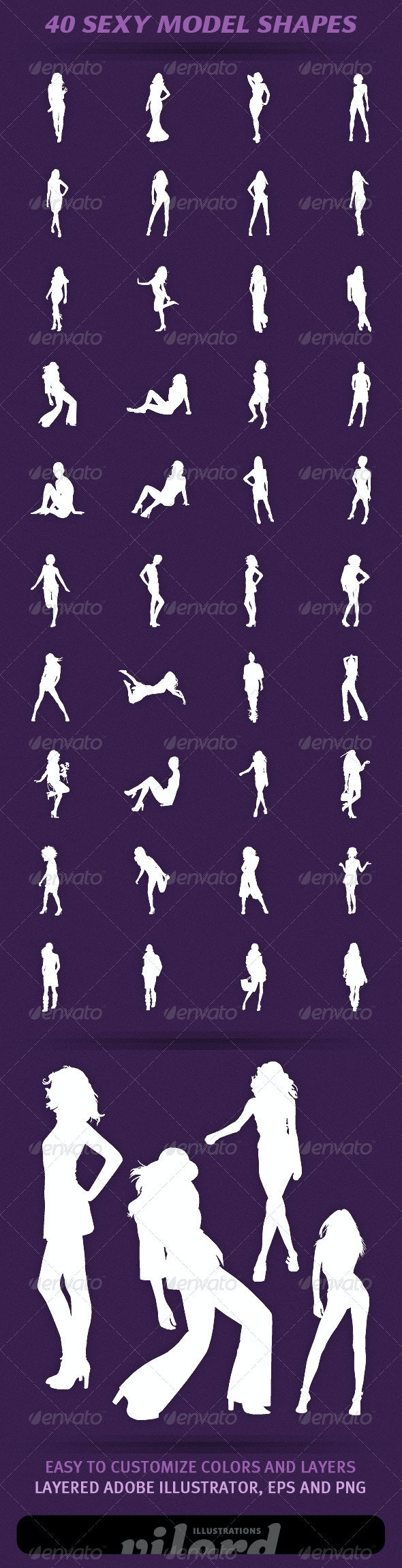 40 Sexy Model Shapes - People Characters