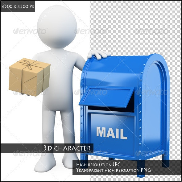 3D White People. Send a Package. - Characters 3D Renders