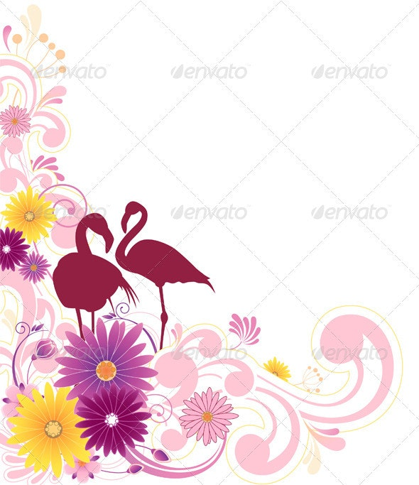 Floral Background with Flamingo - Backgrounds Decorative