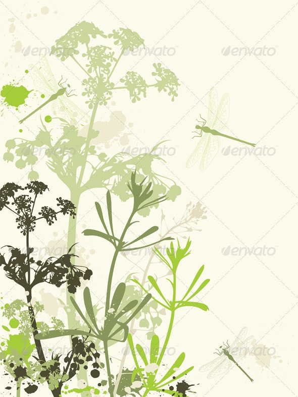 Grunge Background with Flowers - Flowers & Plants Nature