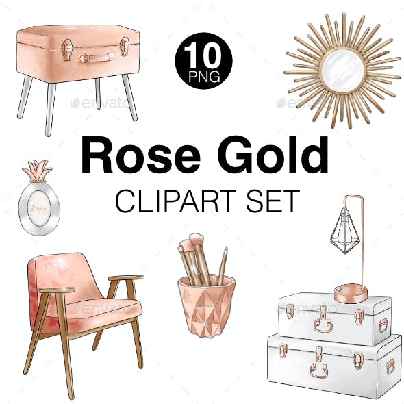 Rose gold fashion girl high-ress clipart set
