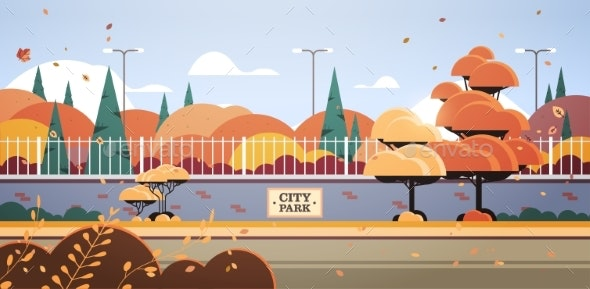 City Park Banner on Fence Autumn Scene - Landscapes Nature