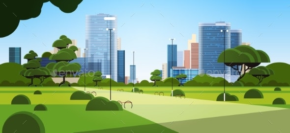 Beautiful Urban Park in Summer Day City Skyline - Landscapes Nature