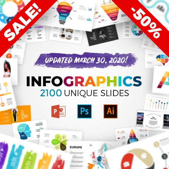 The Biggest Infographics Bundle on the Internet! PowerPoint, Photoshop, Illustrator. Updated!