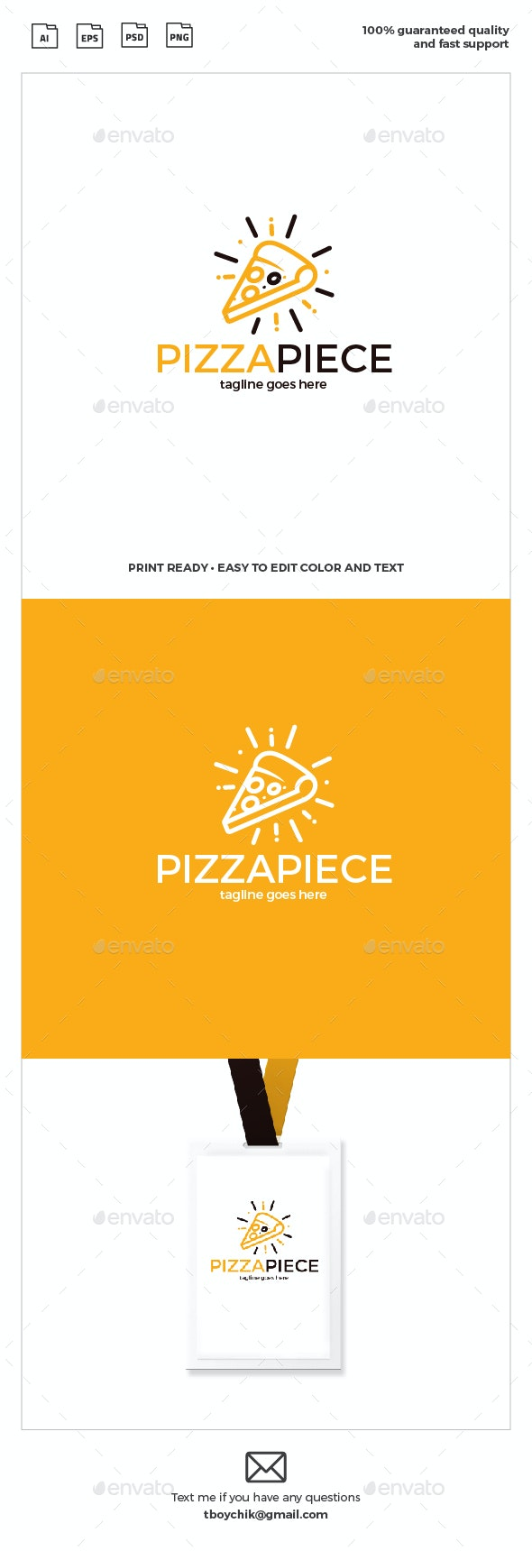 Pizza Piece Logo - Food Logo Templates