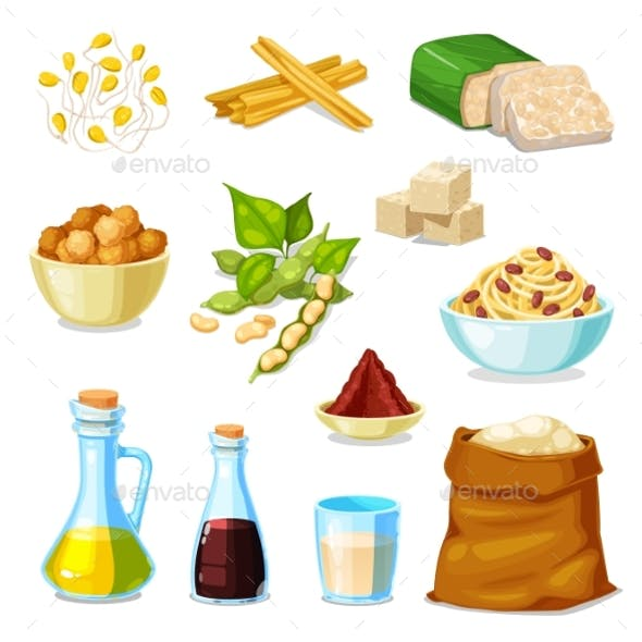 Soy Bean Products of Soybean Legume Food
