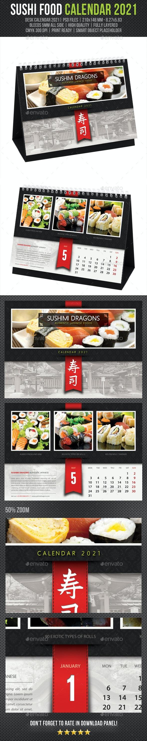 Sushi Restaurant Desk Calendar 2021 - Calendars Stationery
