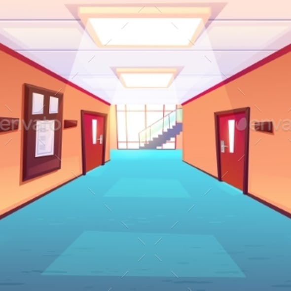 School Corridor, Hallway of College or University
