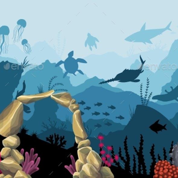 Underwater Sandstone Arch. Natural Underwater