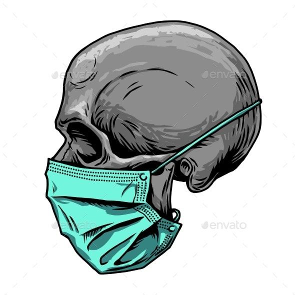 Skull in Medical Face Mask Infectious Disease - Health/Medicine Conceptual