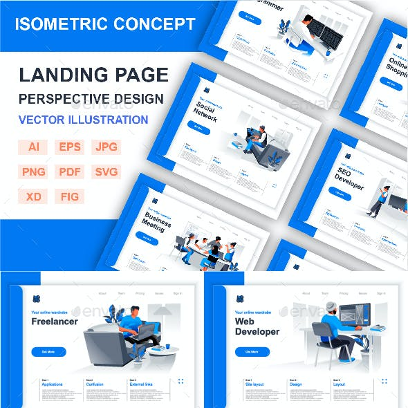 Isometric Landing Page Perspective Concept