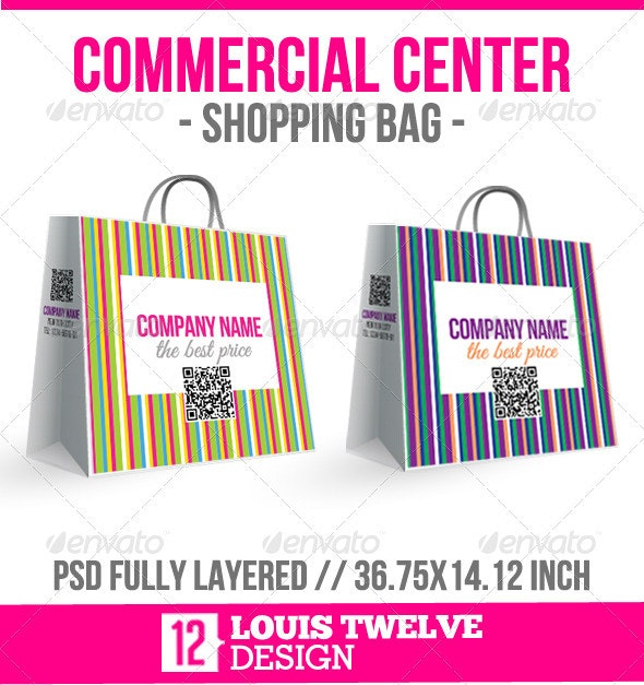 Commercial Center - Shopping Bag - Packaging Print Templates
