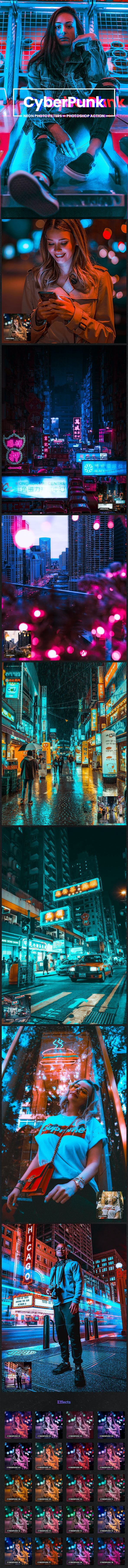 CyberPunk Neon Photo Filters Photoshop Action - Photo Effects Actions