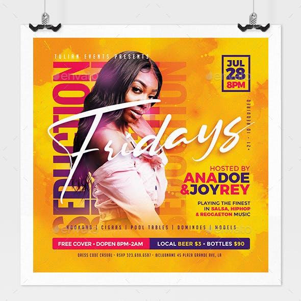Seduction Fridays Nightclub Flyer
