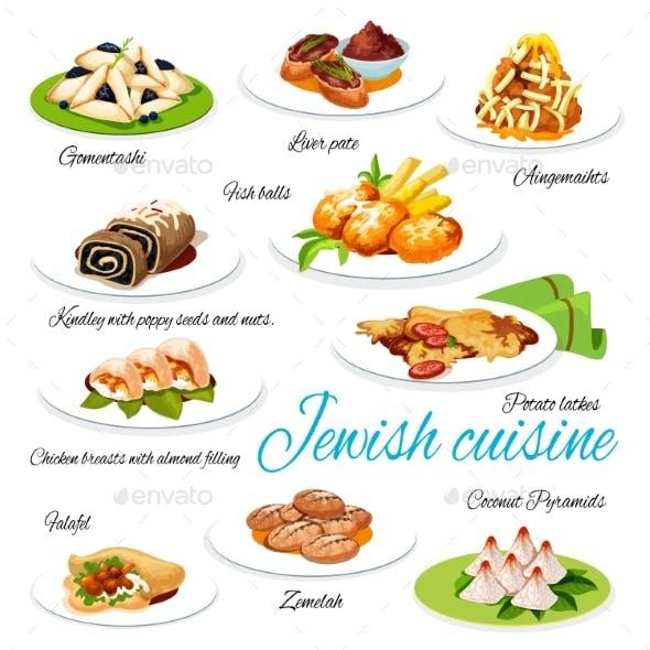 Jewish Cuisine Vector Menu Dishes